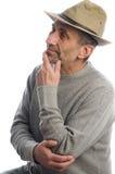 Pensamiento del sombrero de la aventura del hombre de la Edad Media Imagen de archivo