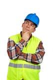Pensamiento del trabajador de construcción Fotografía de archivo libre de regalías