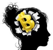 Pensamiento en Bitcoin Imagenes de archivo