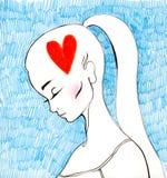 Pensamiento en el amor Foto de archivo libre de regalías