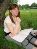 Pensamiento en la escritura Foto de archivo libre de regalías