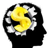 Pensamiento en la fabricación del dinero Fotografía de archivo libre de regalías