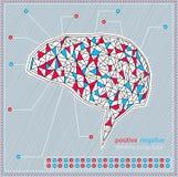 Pensamiento en nuestro cerebro: Positivo y negativa Fotos de archivo