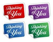 Pensamiento en usted stikers. Foto de archivo