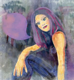 Pensamiento fresco de la muchacha Ilustración de la acuarela stock de ilustración