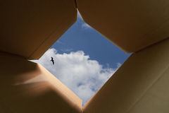 Pensamiento fuera del concepto del rectángulo Fotos de archivo