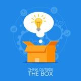 Pensamiento fuera del fondo del concepto del vector de la caja Bombilla que aparece del embalaje de la cartulina Foto de archivo