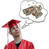 Pensamiento graduado en el dinero Foto de archivo libre de regalías