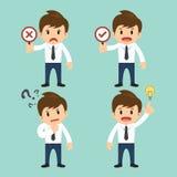 Pensamiento incorrecto del hombre de negocios actual, correcto y actual, vector de la idea libre illustration