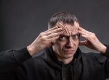 Pensamiento infeliz del hombre Imagen de archivo libre de regalías
