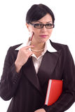 Pensamiento joven de la mujer de negocios Imagen de archivo