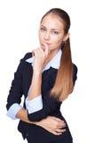 Pensamiento joven de la mujer de negocios aislado en blanco Fotos de archivo libres de regalías