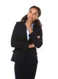 Pensamiento serio de la mujer de negocios Imagen de archivo libre de regalías