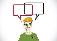 Pensamiento y gente de la gente que hablan con la burbuja del discurso Imagen de archivo