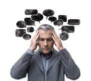 Pensamiento y tensión de la negativa Imagenes de archivo
