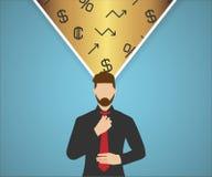 Pensamientos de las finanzas ilustración del vector