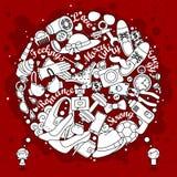 Pensamientos de muchachos y de muchachas en color rojo de los garabatos Foto de archivo libre de regalías