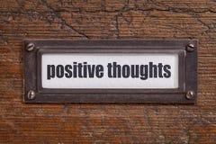 Pensamientos positivos - etiqueta del gabinete de fichero Foto de archivo