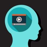 Pensando al video Immagine Stock