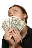 Pensando come spendere soldi Fotografia Stock Libera da Diritti