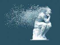Pensatore della scultura con i vetri di VR disintegrati nei pixel 3D su fondo blu immagine stock libera da diritti
