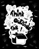 Pense fora da caligrafia da caixa cartaz inspirador inspirado preto e branco Imagens de Stock Royalty Free