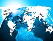 Pense meios globais sobre a consideração e a reflexão ilustração stock