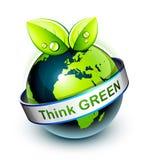 Pense o ícone verde Fotos de Stock Royalty Free