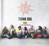Pense o conceito de pensamento positivo grande da atitude da inspiração Fotografia de Stock