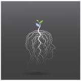Pense o conceito verde A árvore do tiro verde da ideia cresce na cabeça humana Imagens de Stock