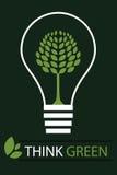 Pense o fundo verde 3 do conceito - vetor Imagens de Stock Royalty Free