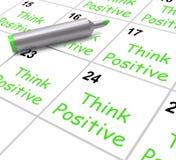 Pense o otimismo positivo dos meios do calendário e Foto de Stock