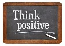 Pense o positivo no quadro-negro Imagens de Stock Royalty Free