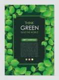 Pense o quadro e a beira verdes Vai o conceito verde das folhas ilustração royalty free