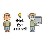 Pense para o senhor mesmo Teste padrão feliz sem emenda da família do pixel art Imagem de Stock