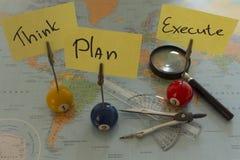 Pense, planeie, execute (Englisch) Fotografia de Stock Royalty Free