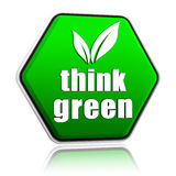 Pense que o verde com folha assina dentro o botão verde Fotografia de Stock Royalty Free