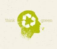 Pense que o verde recicla reduz o cartaz de Eco da reutilização Ilustração orgânica criativa do vetor no fundo de papel Fotos de Stock