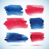 Penseelstreekbanners Inkt rode en blauwe waterverf Royalty-vrije Stock Afbeelding