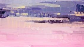 Penseelstreken van roze en purpere olieverf op canvas abstracte achtergrond Stock Foto's