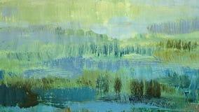 Penseldrag gör grön olje- målarfärg på kanfas abstrakt bakgrund Royaltyfri Bild