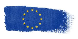 penseldragEuropa flagga Royaltyfri Bild