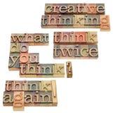Penser créateur dans le type d'impression typographique Images libres de droits