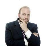 Penser d'homme d'affaires de barbe Images stock