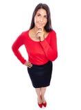 Penser de femme d'affaires? d'isolement sur le blanc Image libre de droits
