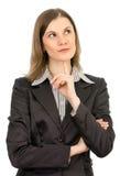 Penser de femme d'affaires. D'isolement sur le blanc Images stock