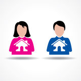 Penser masculin et femelle à leur maison Photographie stock libre de droits
