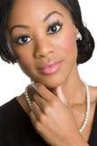 Penser noir de femme d'affaires Images libres de droits