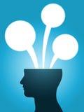 Pensées principales de bulle de la parole de silhouette Images libres de droits