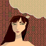Pensevist. Woman in thought, with a fun think bubble for text and a patterned background Stock Illustration
